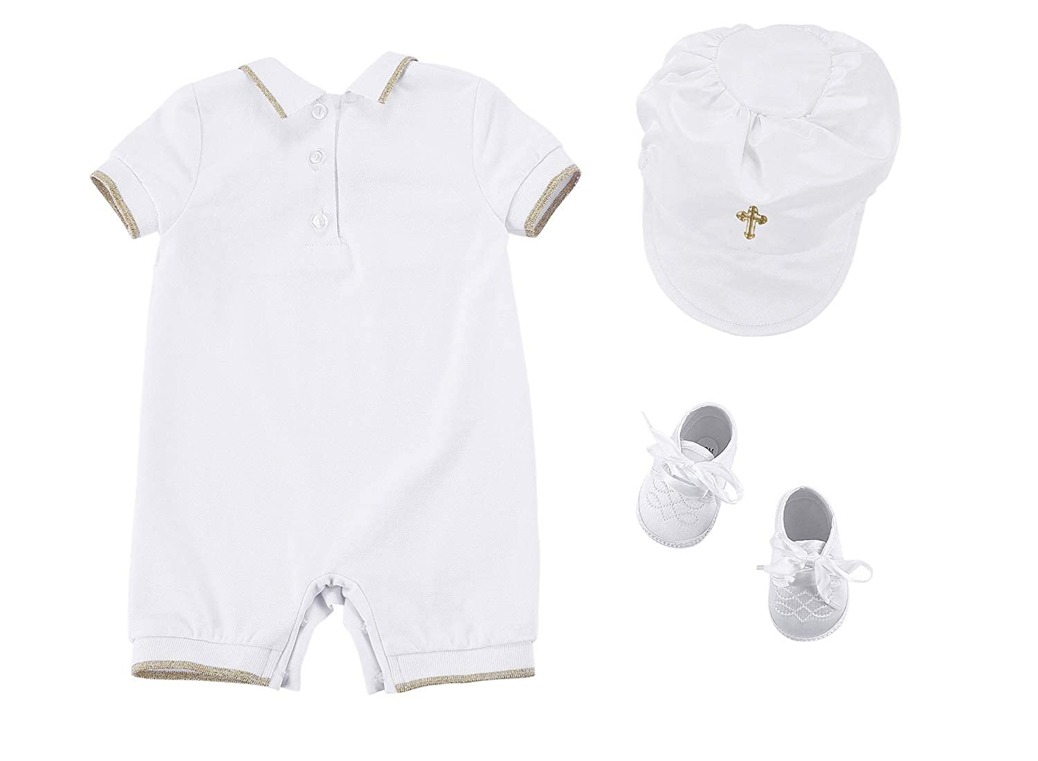 Bow Dream 3 pcs Baby Boy Baptism Outfit with Hat and Shoes