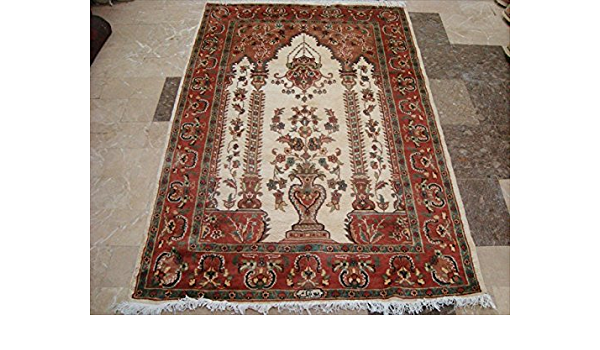 Ivory Vaas Guldasta One Way Lovely Hand Knotted Area Rug Wool Silk Carpet 6 X 4 Kitchen Dining