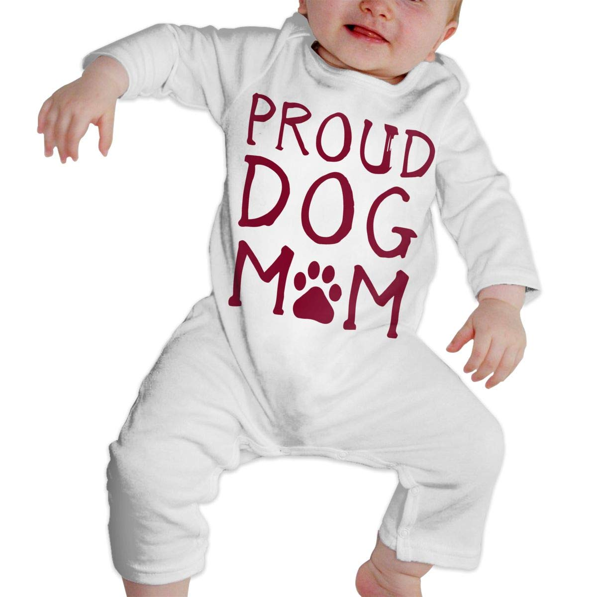 A1BY-5US Newborn Baby Boys Girls Cotton Long Sleeve Proud Dog Mom Climb Romper One-Piece Romper Clothes
