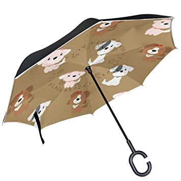 ALAZA cachorro perros feliz año nuevo paraguas invertido doble capa resistente al viento Reverse paraguas