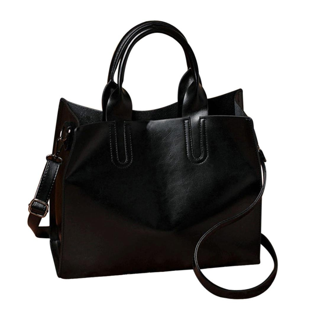 Top Handle Bag AfterSo Clearance Fashion Purse Handbags Womens Girls Gift (32cm/12.59'' L x 11cm/4.33'' W x 25cm/9.84'' H, Black - Solid PU Leather Messenger Bags)