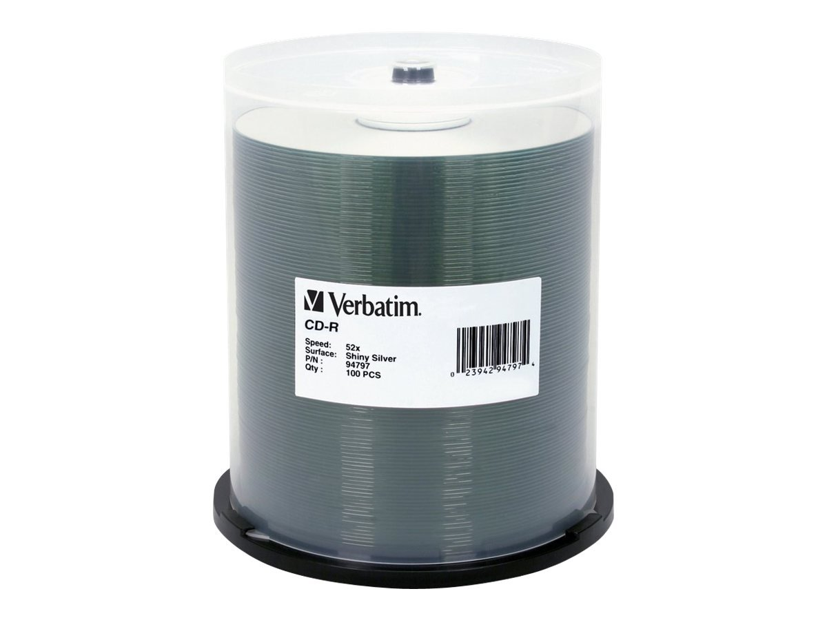 Verbatim 700MB 52X 80 Minute Shiny Silver Disc CD-R 100 Disc Spindle 94797 VERBATIM CORPORATION Blank Media & Cleaning Cartridges