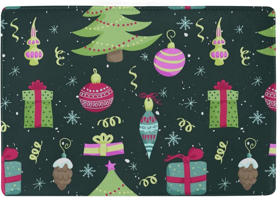 Huge Christmas Tree And Presents Leather Passport Holder Cover Case Blocking Travel Wallet