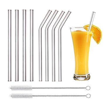 ... Glas-Strohhalme,Thinkcase 8 Stück gerade Wiederverwendbare Glas-Trinkhalme
