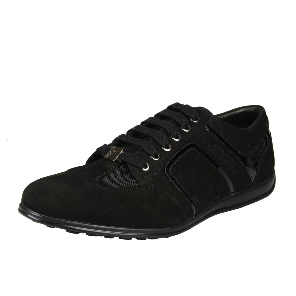 Versace Collection Black Suede Fashion Sneakers Shoes US 8 IT 41; by Versace