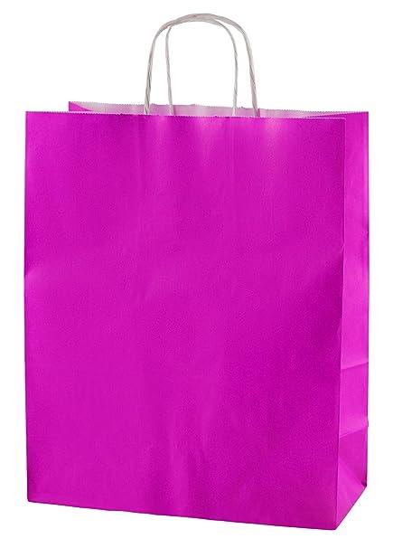 Thepaperbagstore 25 Bolsas De Papel De Colores, Reciclables Y Reutilizables, con Asas Retorcidas, Fucsia - Medianas 250x110x310mm