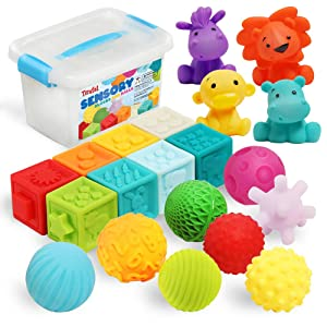 Baby Blocks&Balls 6 to 12 Months and Up Soft Building Stacking Block 20Pack,Bath Toys for Toddlers, Sensory Montessori Teething Toy for Little infant Boys & Girls with Numbers Animals Shapes Textures.