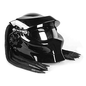 Casco de Motocicleta clásico Retro Negro Casco de Motocicleta de Fibra de Carbono Cascos integrales: Amazon.es: Deportes y aire libre