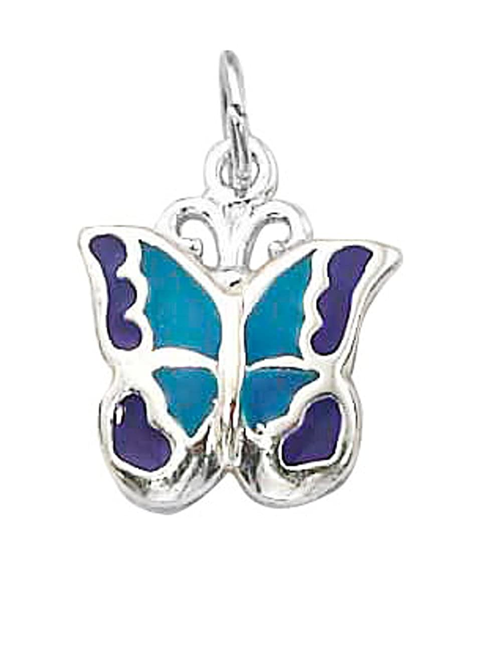Sterling Silver Girls .8mm Box Chain Enameled Blue Purple Butterfly Pendant Necklace