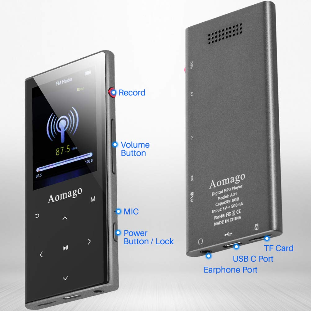 Aomago Music MP3 Player Bluetooth with Speaker - 2 in 1 Lossless Music Player with 2.4\'\' Screen Voice Recorder FM Radio Compact Touch Botton Digital MP3 Player Portable Pedometer, Support up to 128GB