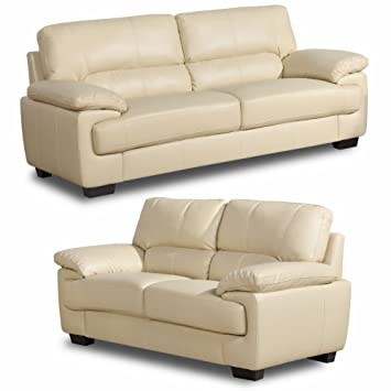 Chelsea 3+2 Seater Cream Leather Sofas Suite: Amazon.co.uk ...