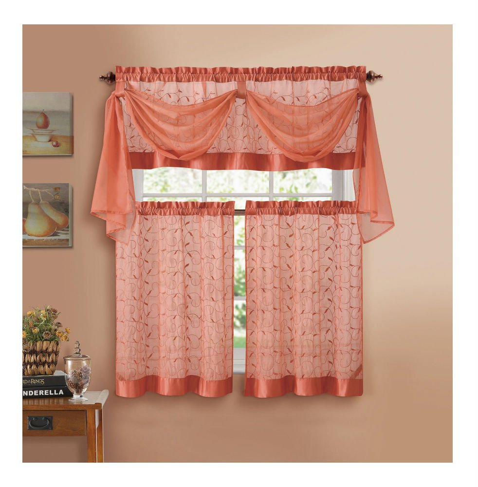Home Linen Leaf Embroidered Complete Kitchen Curtain Set - Coral