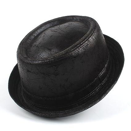 8f83cbb6fb Sun Hats- Vintage Leather Pork Pie Fedora Hat Men Boater Flat Top Hat for  Gentleman Bowler Gambler Top Hat Big Size Dropshipping (Color : Black, Size  ...