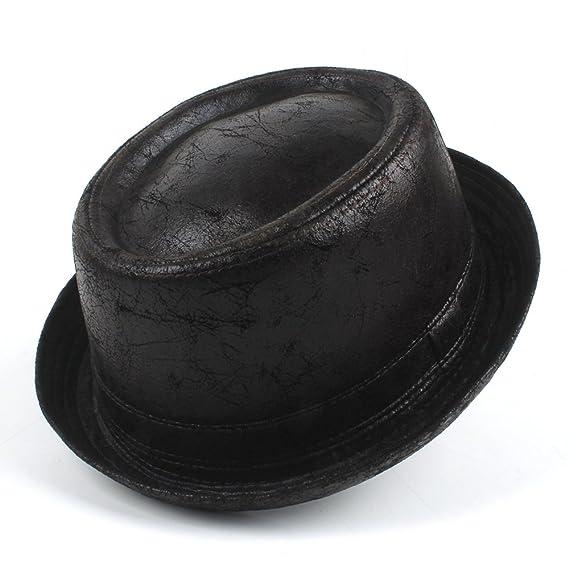 88a57314911 CP   YR Vintage Leather pork pie Fedora Hat Men Boater Flat Top Hat For  Gentleman