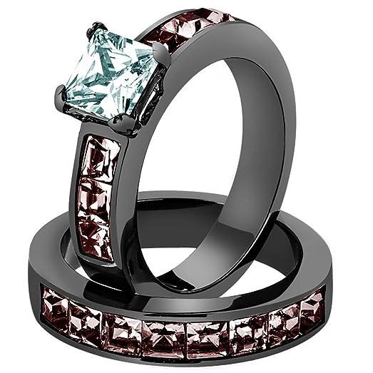 WOMENS 375 CT PRINCESS CUT AAA CZ LIGHT BLACK STAINLESS STEEL WEDDING RING SET Size 5