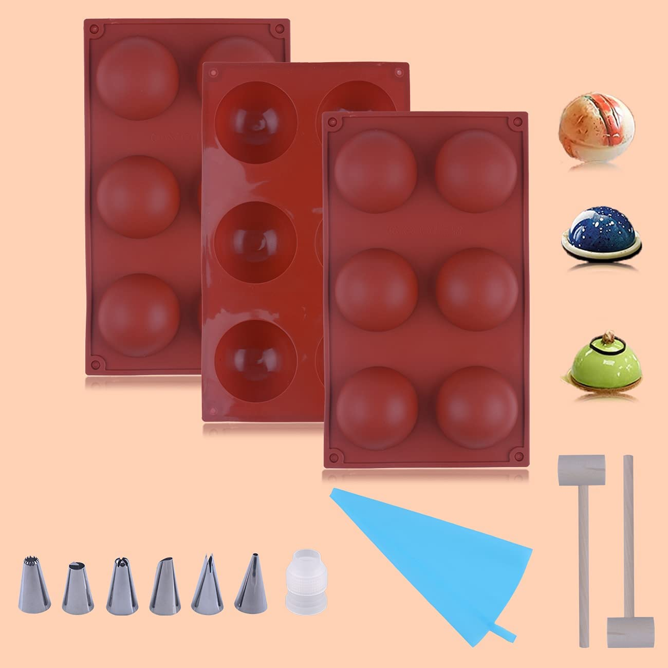 3PCS Semicircle Silicone Mold, 6 Holes Half Sphere Silicone Mold,Silicone Molds for Chocolate Bombs, Silicone Molds, 6 Holes Semi Sphere Chocolate Molds for Making Hot Chocolate Bombs, Cake, Jelly