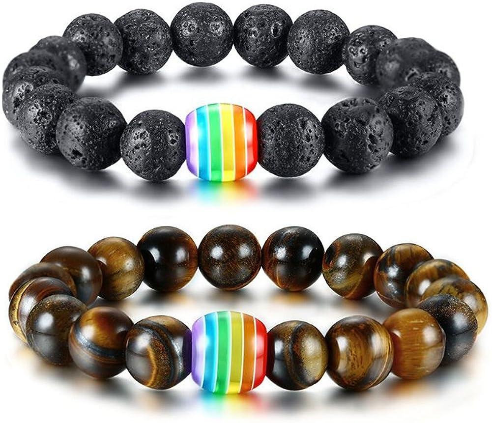 VNOX 4PCS Rainbow Handmade Black Onyx Natural Lava Tiger Eye White Turquesa Stone Beads Bracelet Gay y Lesbianas Orgullo
