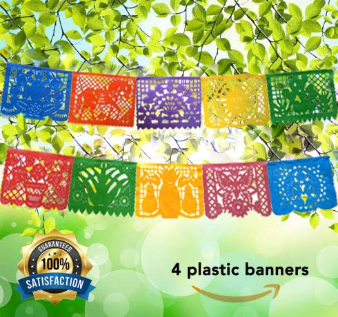 Mexican Decoration Papel Picado Plastic Banner Colorful Tissue Paper Coco Movie -Fiesta Party Birthday Family Celebrations- 64 Feet Includes 4 Large Banners (16 Feet Long 10 Panels each)- Handmade]()