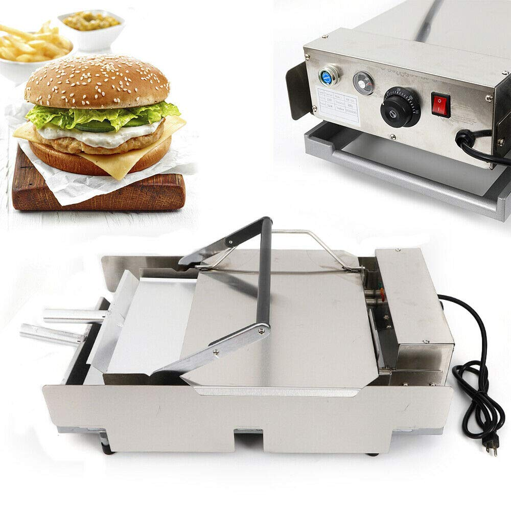 Commercial Electric Hamburger Machine, 110V 2000W Double Layer Baking Burger Maker Heating Charter Cooking Equipment for Home, Restaurant