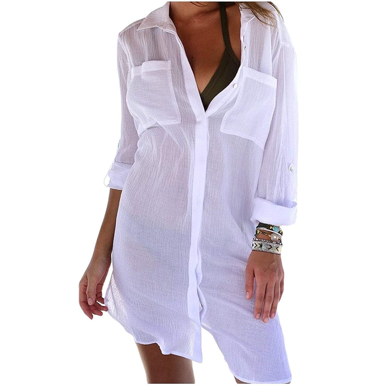 Amazon.com: KingsCat - Camisa de playa de sarga blanca con ...