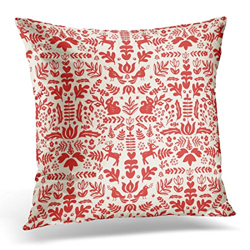 Emvency Throw Pillow Cover Red Christmas Folk Damask White Nordic Decorative Pillow Case Home Decor Square 20 x 20 Inch Pillowcase