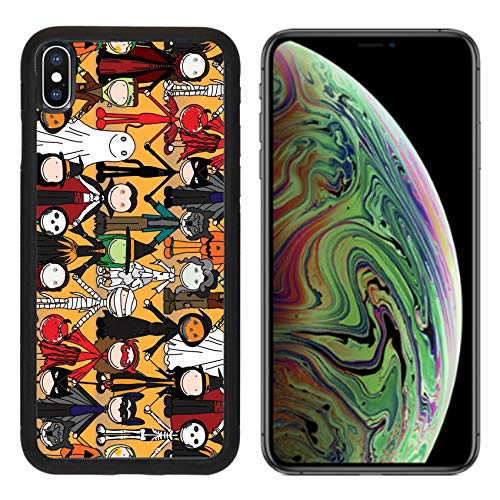 Liili Premium Apple iPhone Xs MAX Aluminum Backplate Bumper Snap Case Seamless Pattern Made of Illustrated Kids in Halloween Costumes Image ID -