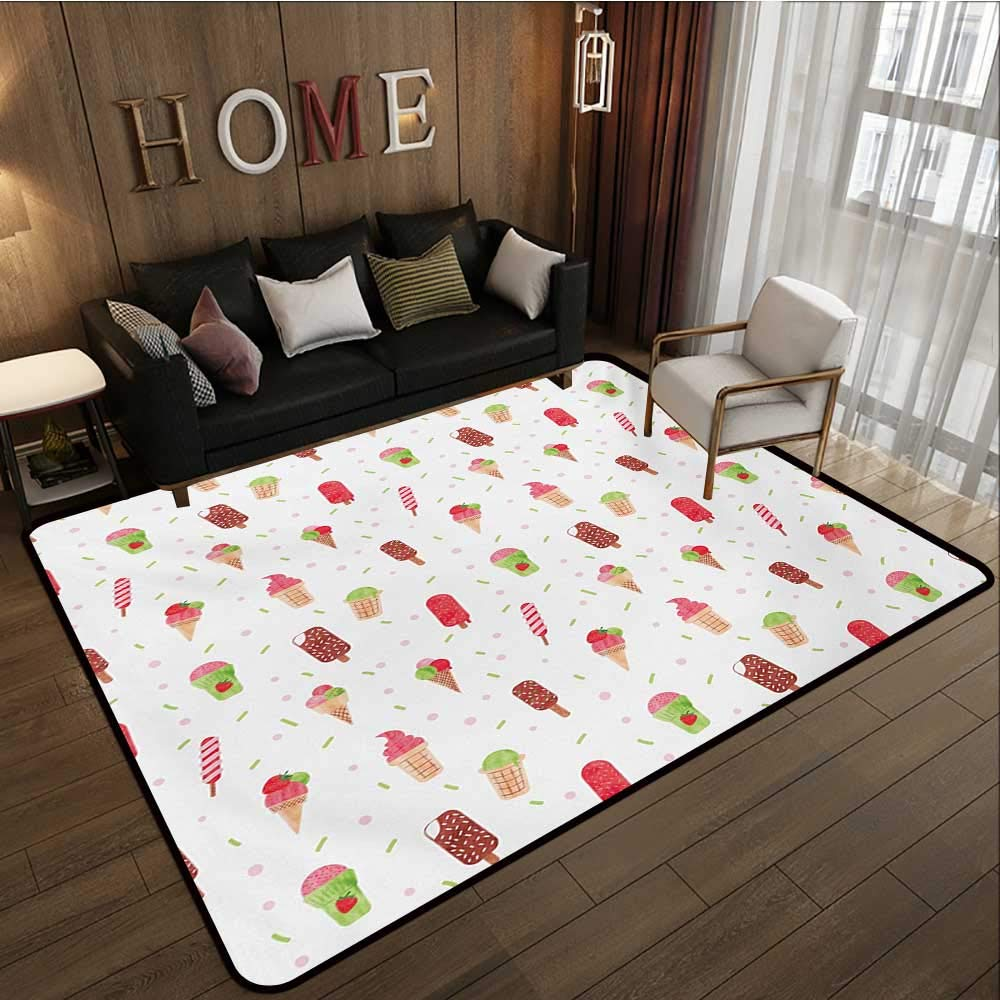 Household Decorative Floor mat,Summertime Inspired Watercolor Pattern with Yummy Dessert Ice Lolly and Cone 6'6''x8',Can be Used for Floor Decoration by BarronTextile (Image #1)