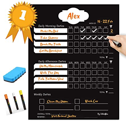 Amazon Com Magnetic Chore Chart With Rewards For Kids And Teens