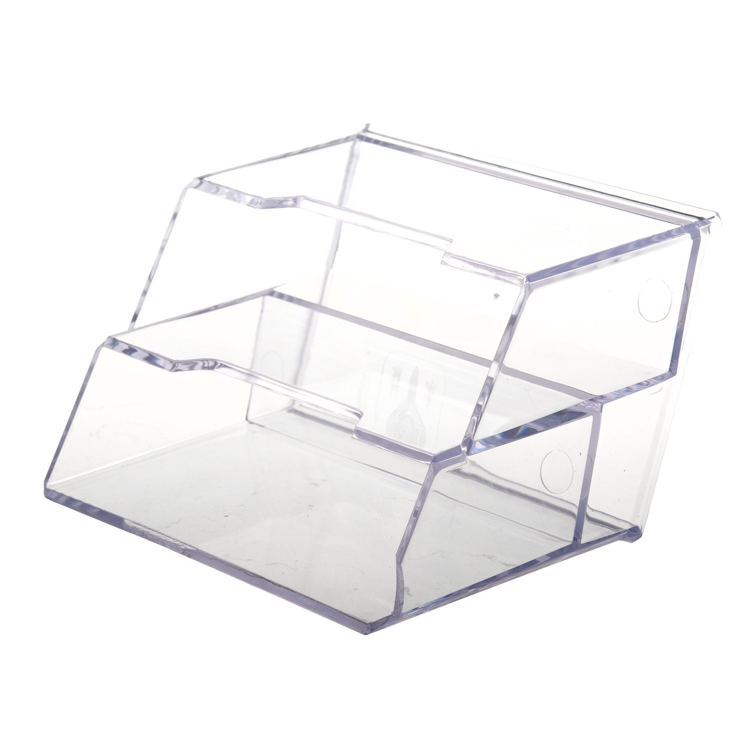 SODIAL Office Business Card Holder Desktop Display Stand 2-Compartment R