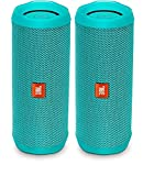 JBL Flip 4 Waterproof Portable Bluetooth Speaker (Pair) (Teal)