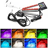 Car LED Strip Lights,4pcs 48 LED DC 12V Multicolor Music Car Interior Light- LED Under Dash Lighting Kit with Sound Active Function and Wireless Remote Control, Car Charger Included (48 leds)