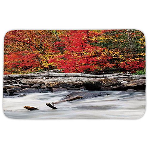 Neoprene Raft - Rectangular Area Rug Mat Rug,Driftwood Decor,A Raft of Driftwood Lies by a Rushing Rocky Stream Autumn Forest Digital Image,Red,Home Decor Mat with Non Slip Backing