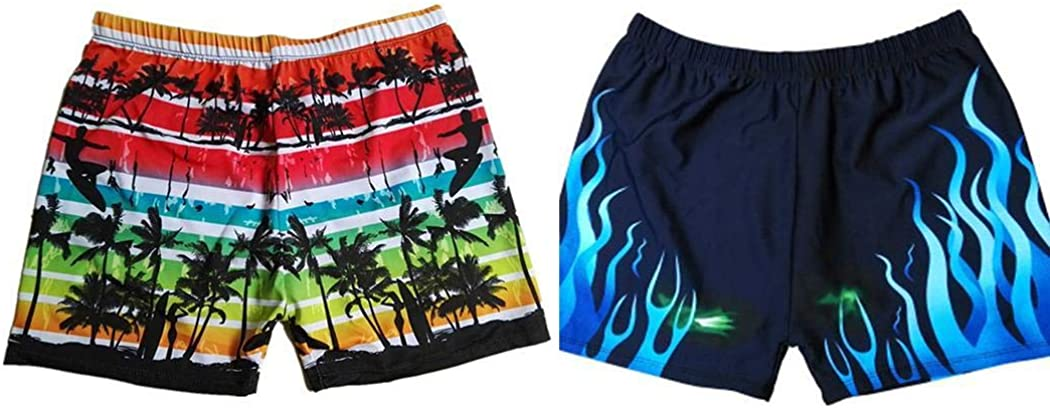 Evelove Men Print Summer Loose Swimming Boxer Shorts Swimwear Trunks