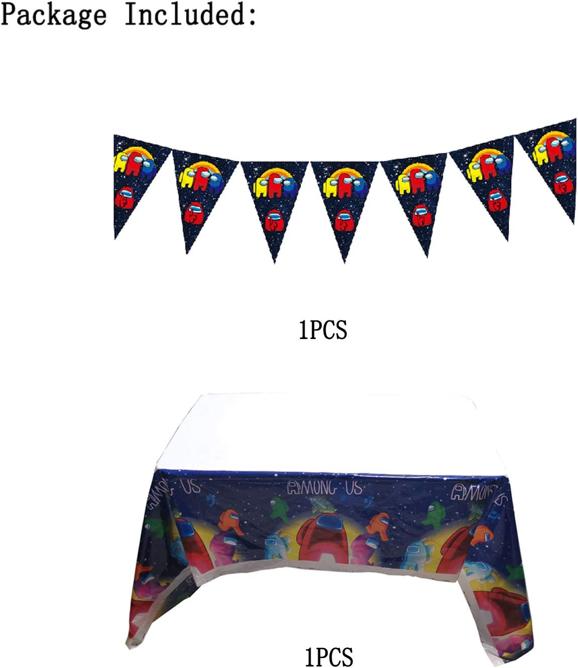 1 PCS Among Us Plastic Tablecloth Tablecovers and 1PCS Banner for Among Us Themed Birthday Party Decorations Supplies for Kids