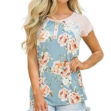 Camisetas Estampadas Florales de Mujer, LILICAT® Blusa Tops de Costura De Encaje Casual Con