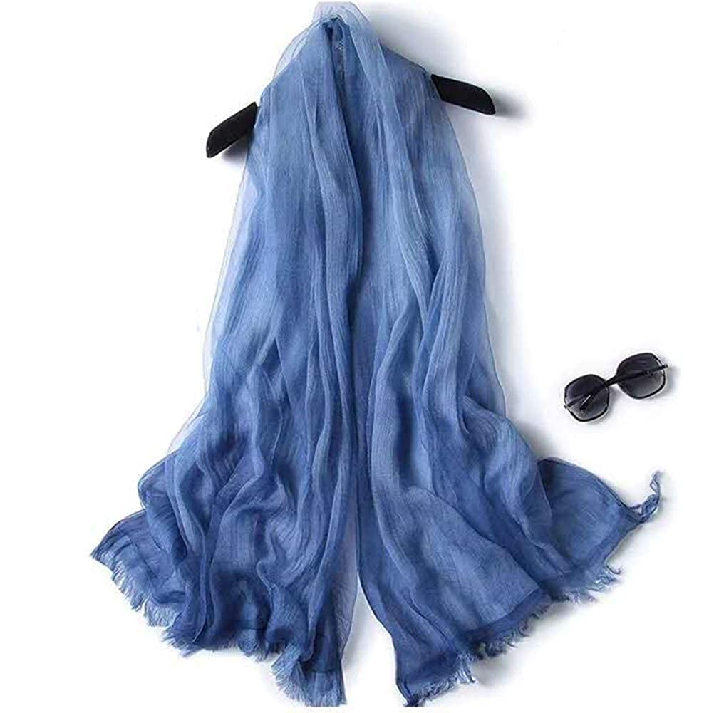 bluee Scarf With Double Layers  OKEER Unisex Solid color Silk Cotton Fabric Scarves Wraps