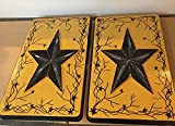 Texas Rustic Barn Star Stove Burner Cover Set Antique Gold