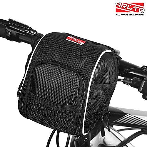 Arltb Bicycle Handlebar Bag with Rain Cover Bike Front Frame Tube Handlebar (Lightweight Travel Courier Bag)
