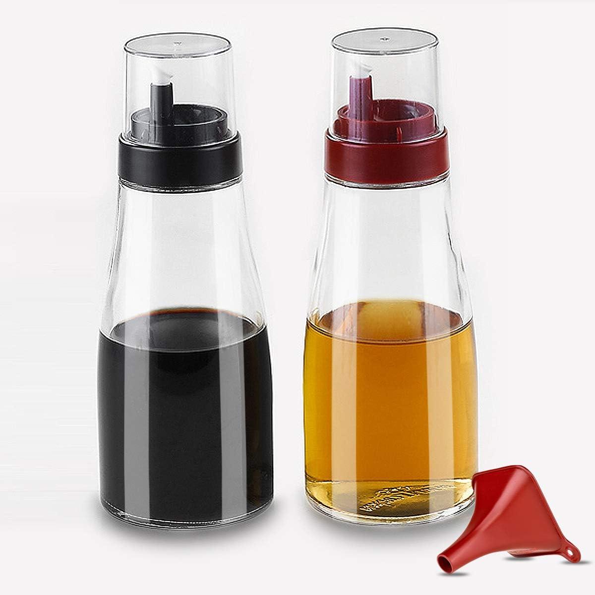 PURPLECROWN 11oz Glass Olive Oil & Vinegar Dispenser set, Leakproof Oil Decanter Condiment Container Cruet, Non-Drip Spout Seasoning bottle For Kitchen (Black+Red) (2PC)