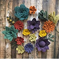 Wool Felt Succulents Autumn Collection- 15 Flowers & 3 leaves - Create Headbands, DIY Wreaths, Garland, Vertical Garden