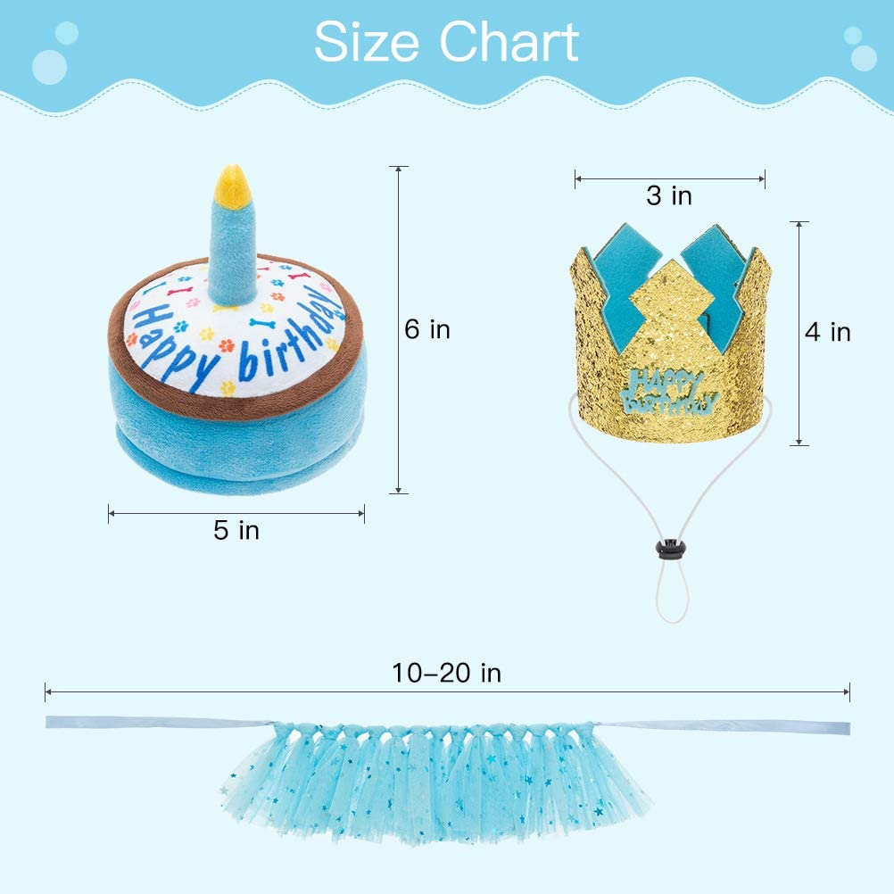 Dog Birthday Party Supplies /& Decorations for Puppy or Small Medium Breeds Dogs EXPAWLORER Dog Birthday Hat with Cake and Costume Set for Boy
