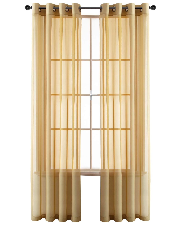 GoodGram 2 Pack Ultra Luxurious High Woven Elegant Sheer Grommet Curtain Panels - Assorted Colors (Gold)