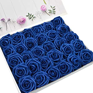 DerBlue 60pcs Artificial Roses Flowers Real Looking Fake Roses Artificial Foam Roses Decoration DIY for Wedding Bouquets Centerpieces,Arrangements Party Baby Shower Home Decorations (Navy Blue)