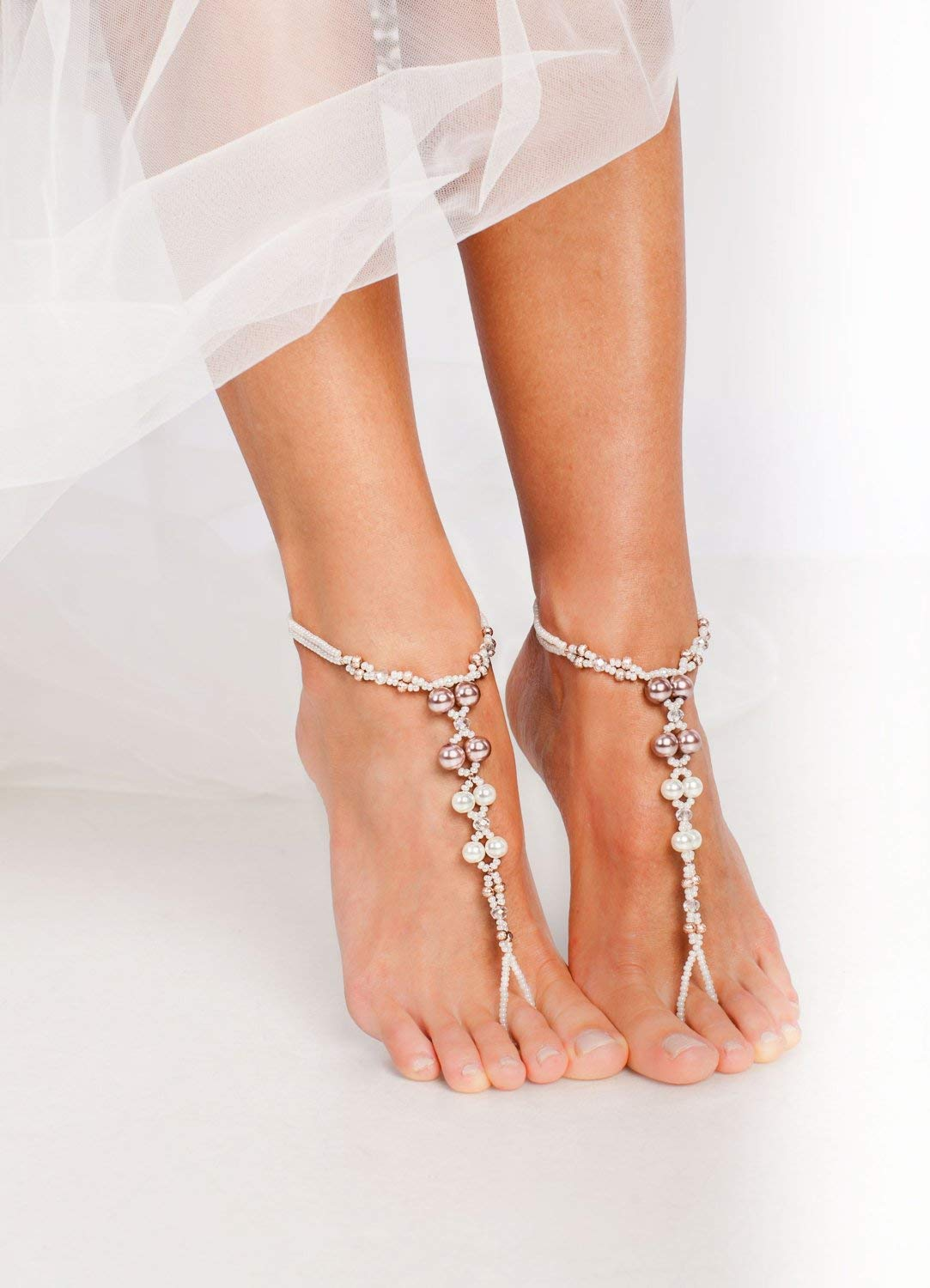 Beaded Barefoot sandals Bridal foot jewelry Rhinestone and Pearl Beach wedding Barefoot Sandals Bridal accessory Foot jewelry Wedding shoes