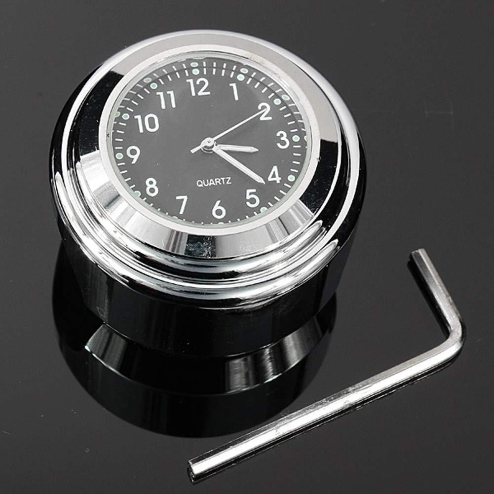 Lanyifang 1Pcs Motorrad Uhren Schwarze Edelstahl Aluminiumlegierung Motorrad Lenkerhalterung Zifferblatt Uhren/Thermometer wasserdichtes Universalzubehö r (Uhren)