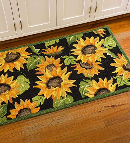 (Plow & Hearth Sunflower Area Rug, Gold)