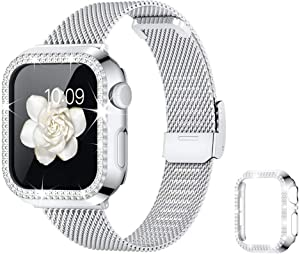 Goton Compatible with Apple Watch Band 38mm 40mm 42mm 44mm with Bling Case for Women Girls,Thin Slim Stainless Steel Mesh Metal Replacement Wristband for iWatch SE & Series 6/5/4/3/2/1