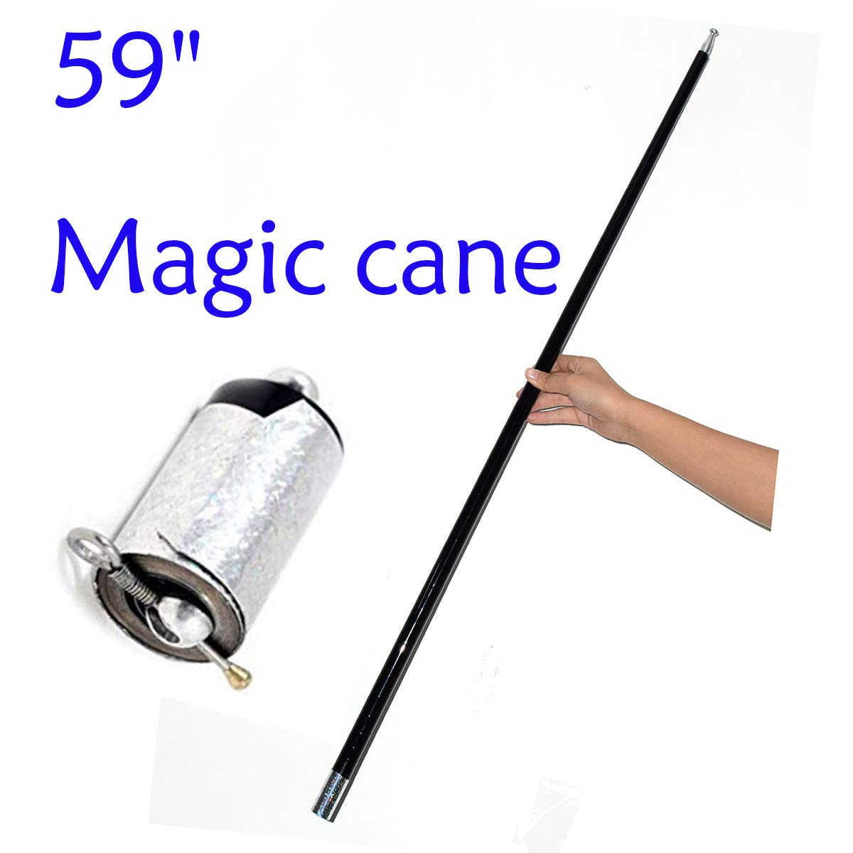 WSNMING 59'' Magician Metal Appearing Cane with Free Gloves and Video Tutorial Stage Close-up Magic Tricks by WSNMING