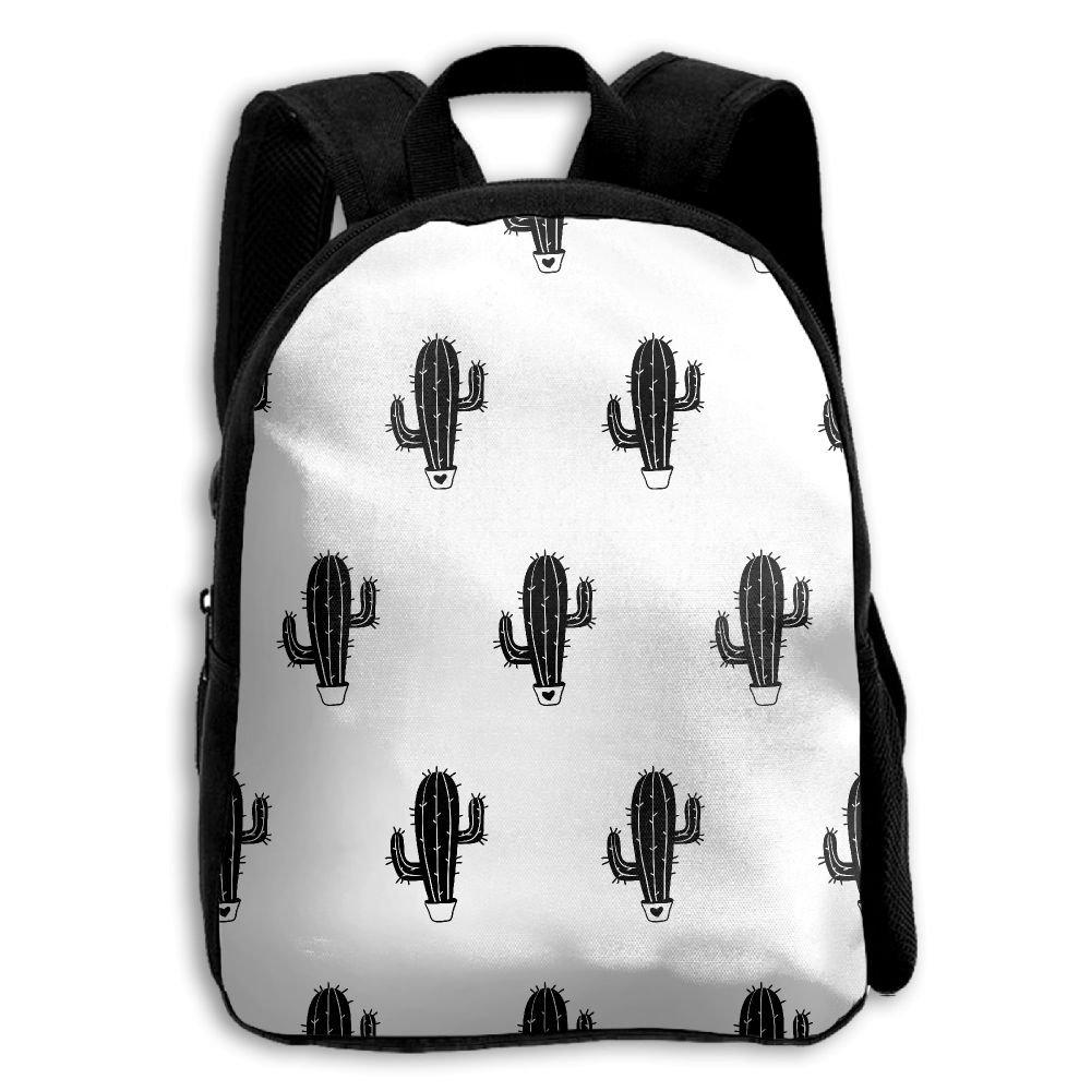 Kids School Bag Double Shoulder Print Backpacks Cacti Repeat Black Travel Gear Daypack Gift by LAUR