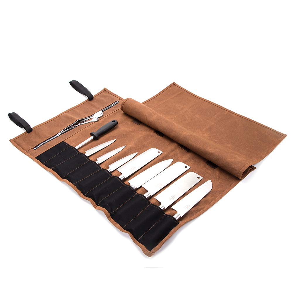 Multi-Purpose 15 Pockets Waxed Canvas Kitchen Travel Knife Holder Waterproof Chef's Knife Roll Up Wrap Protectors Silverware Case Storage Tote Pouch For Barbecuing Camping(HGJ17-I)